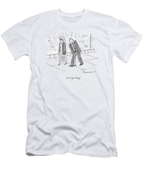 A Woman And A Man Walk Side By Side. The Man Men's T-Shirt (Athletic Fit)