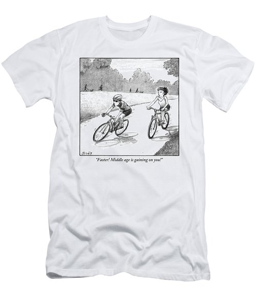 A Woman Casually Riding A Bicycle Addresses A Man Men's T-Shirt (Athletic Fit)