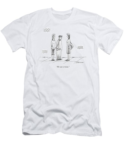A Woman Holds A Man On A Leash While Talking Men's T-Shirt (Athletic Fit)