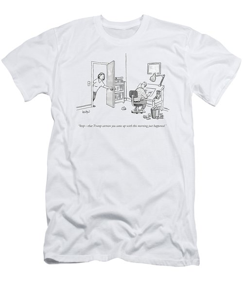 A Woman Interrupting A Cartoonist Working Men's T-Shirt (Athletic Fit)
