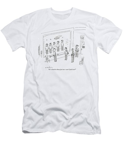 A Woman Is On One Side Of A Police Line Up.  Four Men's T-Shirt (Athletic Fit)
