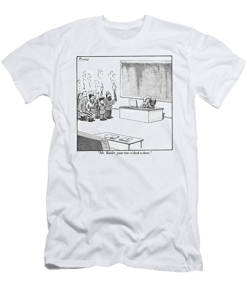 A Woman Is Sitting At A Desk With A Torch-bearing Men's T-Shirt (Athletic Fit)