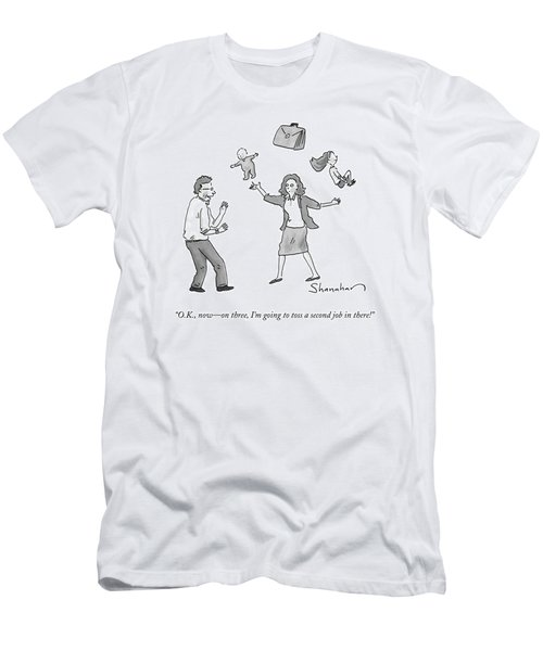 A Woman Juggles Two Children And A Briefcase Men's T-Shirt (Athletic Fit)
