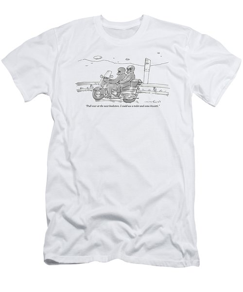 A Woman On The Back Of A Motorcycle Talks Men's T-Shirt (Athletic Fit)