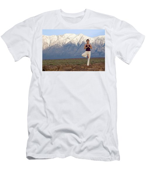 A Woman Practices Yoga On The Volcanic Men's T-Shirt (Athletic Fit)