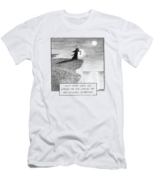 A Woman Runs In The Dark Toward A Cliff Men's T-Shirt (Athletic Fit)
