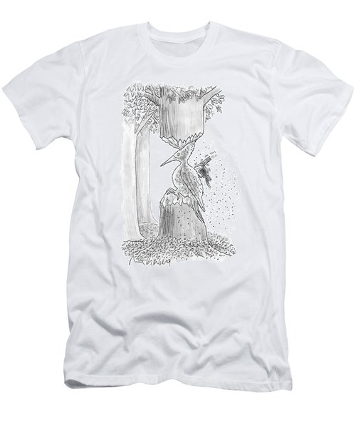 A Woodpecker Is Using His Beak To Carve Is Own Men's T-Shirt (Athletic Fit)
