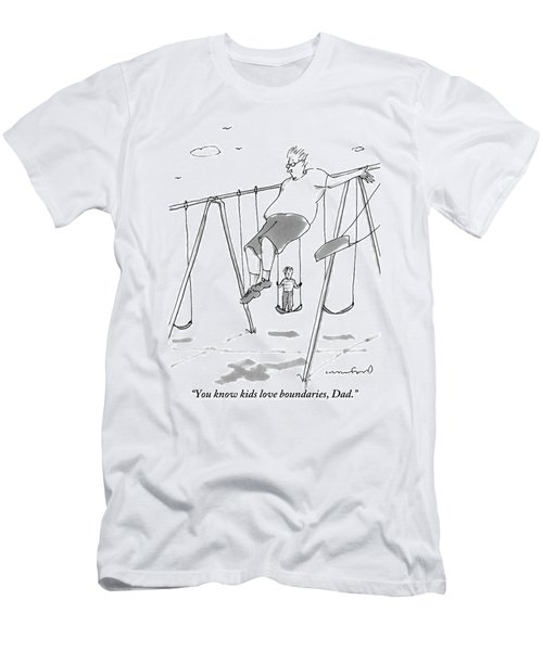 A Young Boy On A Swingset To His Father Men's T-Shirt (Athletic Fit)