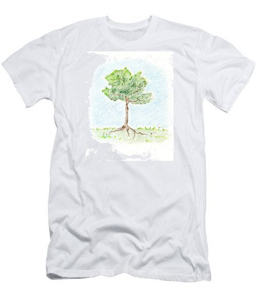 Men's T-Shirt (Slim Fit) featuring the drawing A Young Tree by Keiko Katsuta