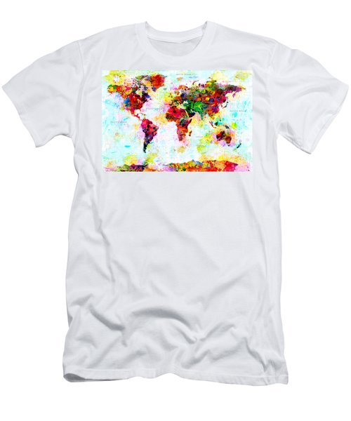 Abstract World Map Men's T-Shirt (Athletic Fit)