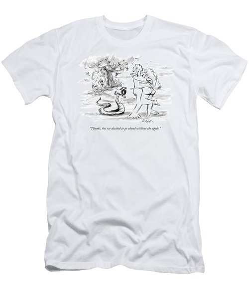Adam And Eve Embrace In The Garden Of Eden Men's T-Shirt (Athletic Fit)