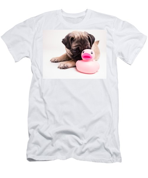Adorable Pug Puppy With Pink Rubber Ducky Men's T-Shirt (Athletic Fit)