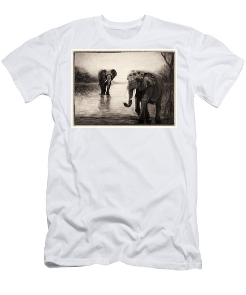 African Elephants At Sunset Men's T-Shirt (Athletic Fit)