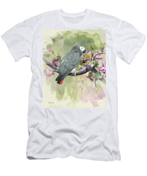 African Gray Among The Blossoms Men's T-Shirt (Athletic Fit)