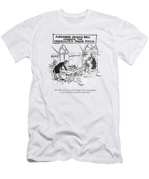 Alexander Graham Bell Invents The Unsolicited Men's T-Shirt (Athletic Fit)