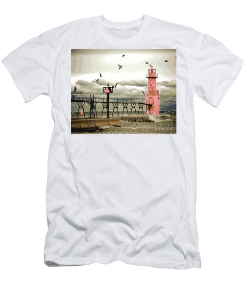 Algoma Pierhead Lighthouse Men's T-Shirt (Athletic Fit)