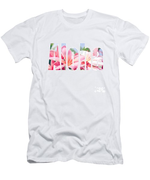 Aloha Tropical Plumeria Typography Men's T-Shirt (Athletic Fit)