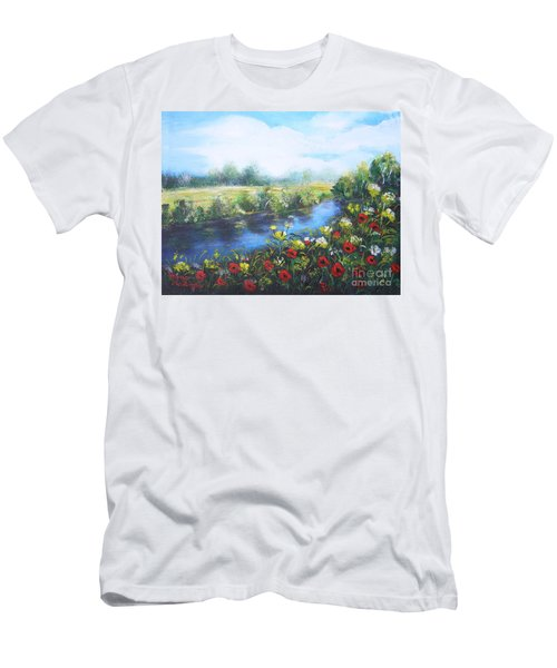 Men's T-Shirt (Slim Fit) featuring the painting Along The Poppy Valley by Vesna Martinjak