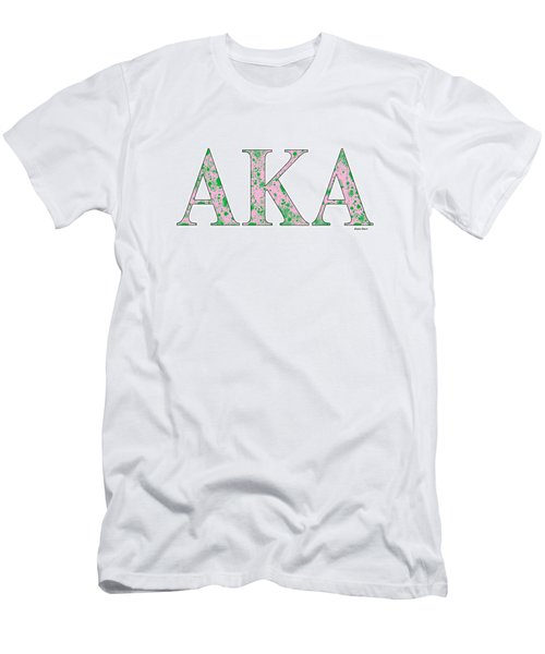 Men's T-Shirt (Slim Fit) featuring the digital art Alpha Kappa Alpha - White by Stephen Younts