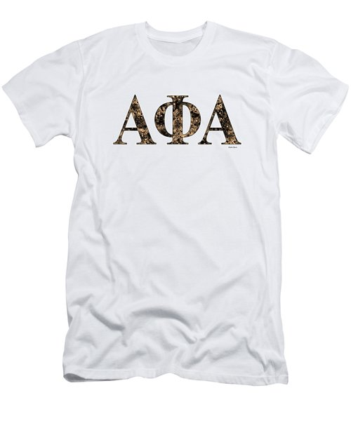Men's T-Shirt (Slim Fit) featuring the digital art Alpha Phi Alpha - White by Stephen Younts