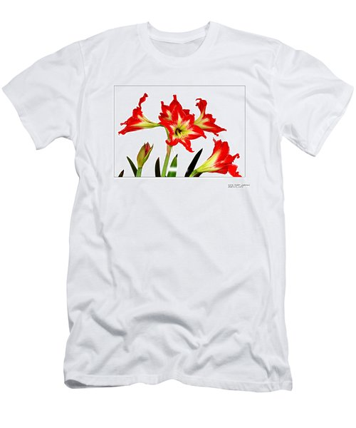 Men's T-Shirt (Slim Fit) featuring the photograph Amaryllis On White by David Perry Lawrence