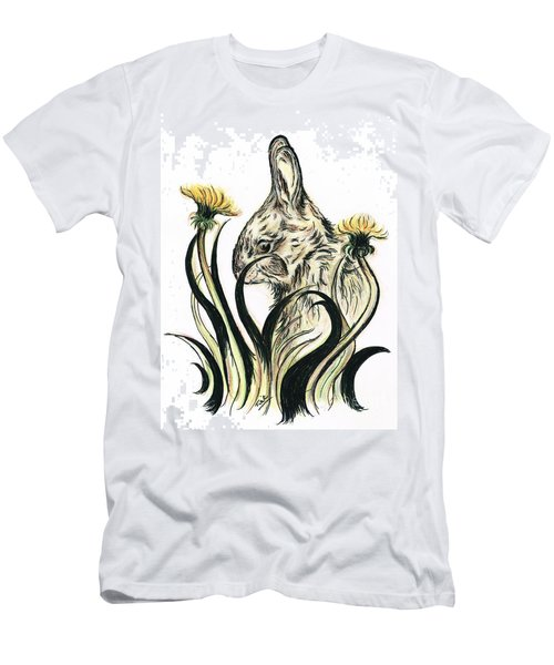 Rabbit- Amongst The Dandelions Men's T-Shirt (Slim Fit) by Teresa White