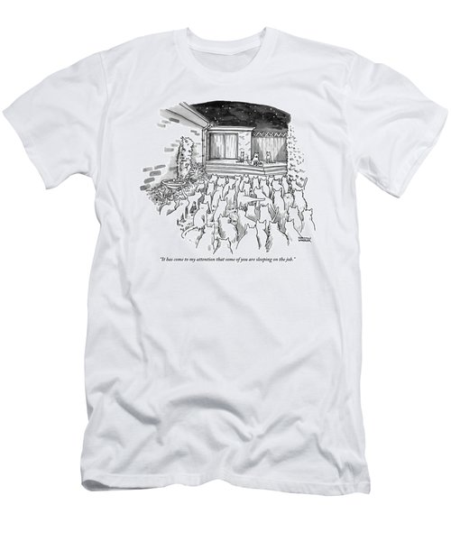An Assembly Of Cats In A Backyard Led By Three Men's T-Shirt (Athletic Fit)