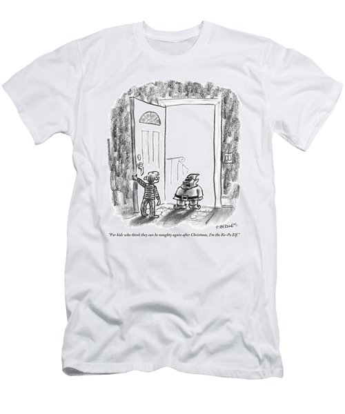 An Elf Arrives At A Child's Front Door Men's T-Shirt (Athletic Fit)