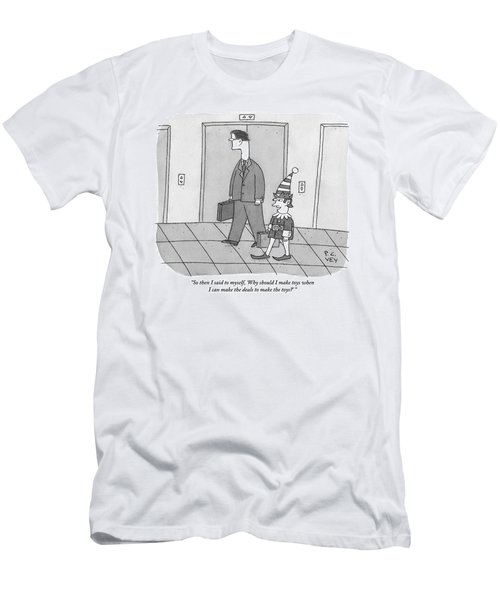 An Elf Carrying Briefcase Says To The Man Men's T-Shirt (Athletic Fit)