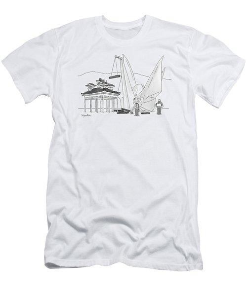 An Enormous Origami Crane Lifts Wood Men's T-Shirt (Athletic Fit)