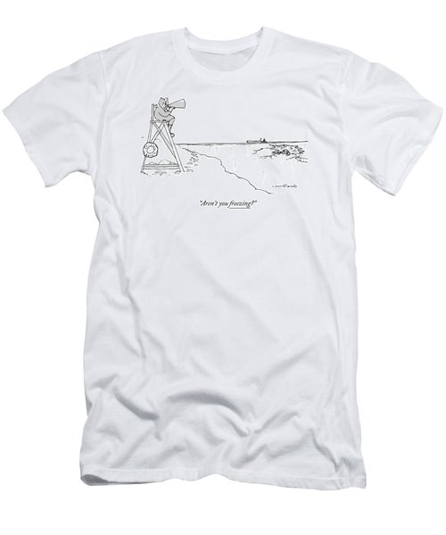 An Eskimo With A Megaphone Sits Atop A Lifeguard Men's T-Shirt (Athletic Fit)