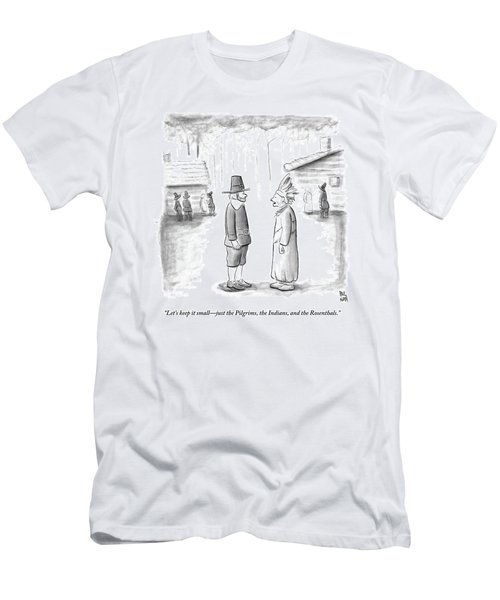 An Indian Chief Speaks To A Pilgrim Men's T-Shirt (Athletic Fit)