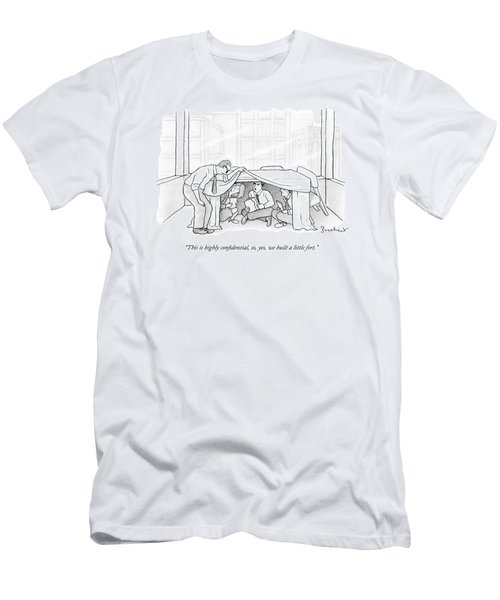 An Office Worker Lifts A Sheet And Finds Three Men's T-Shirt (Athletic Fit)