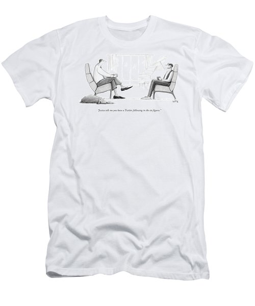An Older Man In Business Attire Speaks Men's T-Shirt (Athletic Fit)