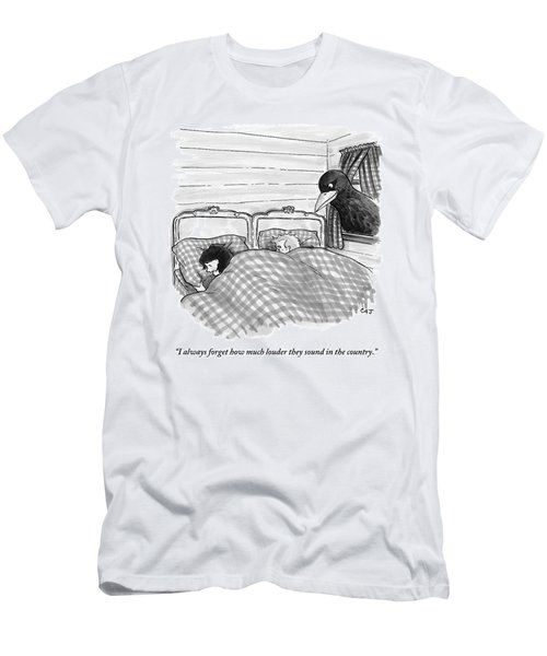 An Overly Large Bird Peers Into The Bedroom Men's T-Shirt (Athletic Fit)