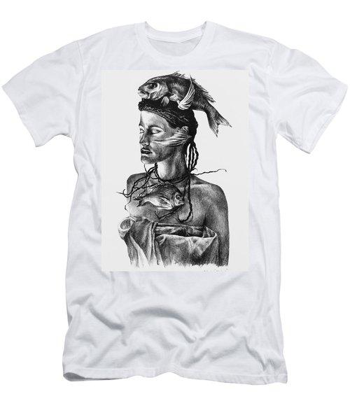 Aqua Men's T-Shirt (Slim Fit) by Yvonne Wright