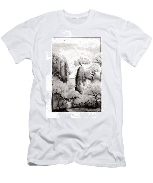 Men's T-Shirt (Slim Fit) featuring the painting Arbres Separes by Marc Philippe Joly