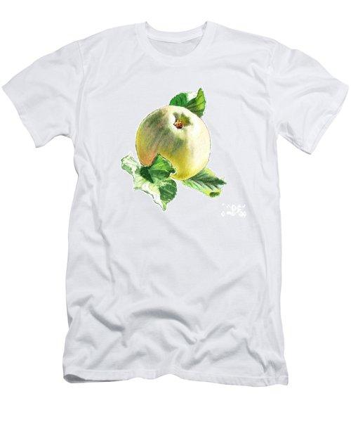 Men's T-Shirt (Slim Fit) featuring the painting Artz Vitamins Series A Happy Green Apple by Irina Sztukowski