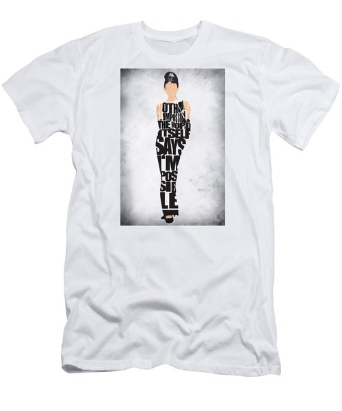 Audrey Hepburn Typography Poster Men's T-Shirt (Slim Fit) by Ayse Deniz