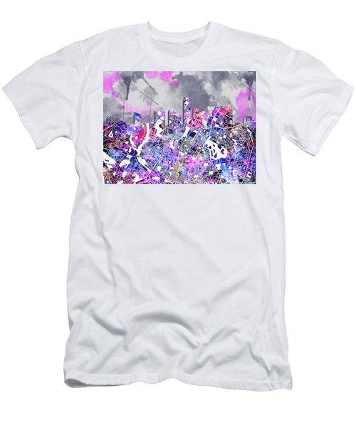 Austin Texas Watercolor Panorama2 Men's T-Shirt (Slim Fit) by Bekim Art