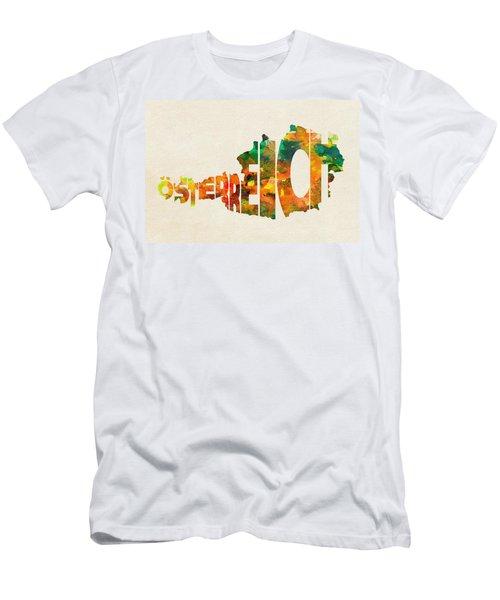 Austria Typographic Watercolor Map Men's T-Shirt (Athletic Fit)