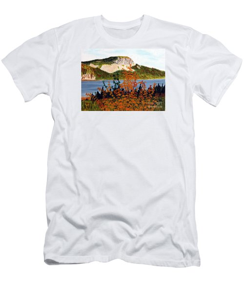 Men's T-Shirt (Slim Fit) featuring the painting Autumn Sunset On The Hills by Barbara Griffin