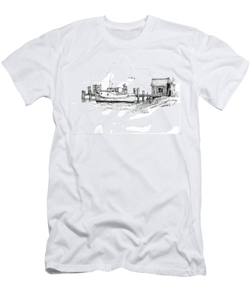 Awaiting Bluefish Run Ocracoke Nc 1970s Men's T-Shirt (Athletic Fit)