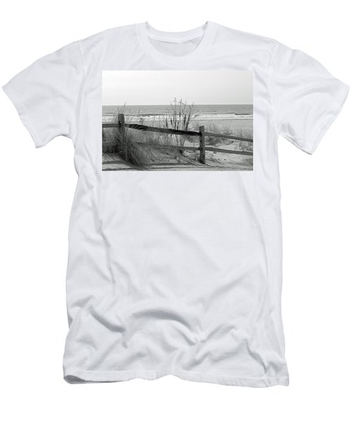 Men's T-Shirt (Slim Fit) featuring the photograph B And W Beach by Greg Graham