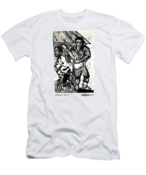 Men's T-Shirt (Slim Fit) featuring the relief Backyard Music by Seth Weaver