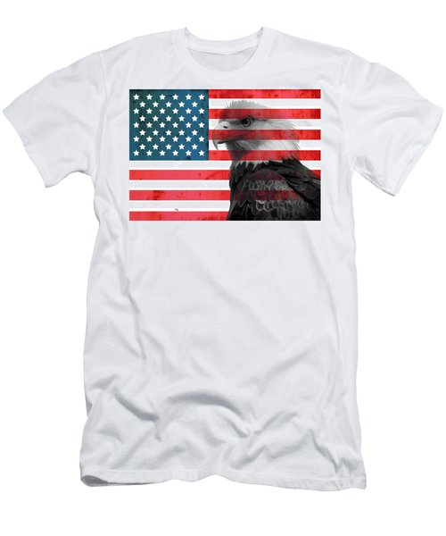 Bald Eagle American Flag Men's T-Shirt (Athletic Fit)