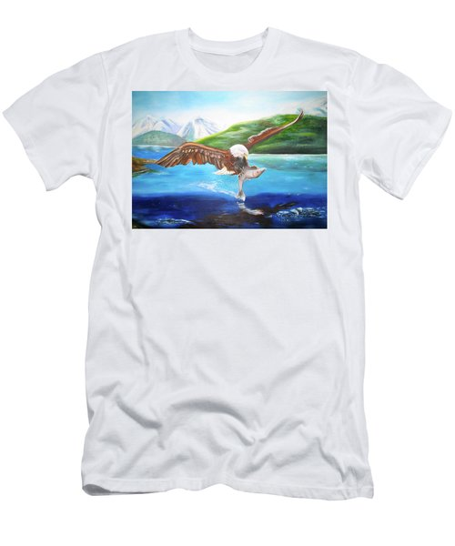 Men's T-Shirt (Athletic Fit) featuring the painting Bald Eagle Having Dinner by Thomas J Herring