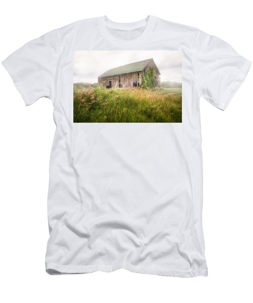 Men's T-Shirt (Slim Fit) featuring the photograph Barn In A Misty Field by Gary Heller