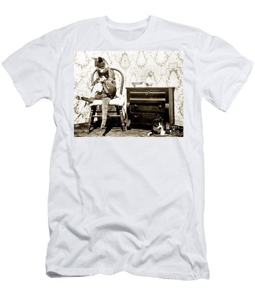 Men's T-Shirt (Slim Fit) featuring the photograph Bath Time For Kitty Circa 1900 Historical Photos by California Views Mr Pat Hathaway Archives