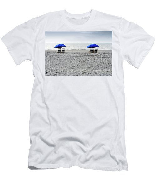 Beach Umbrellas On A Cloudy Day Men's T-Shirt (Athletic Fit)